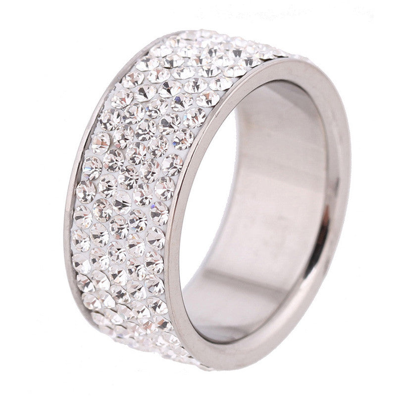5.5 / Clear5 Row Lines Clear Crystal Jewelry Fashion Stainless Steel Engagement Rings
