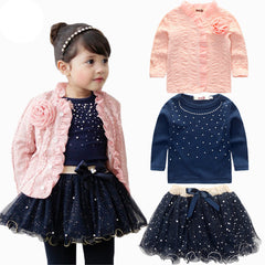 Spring baby girls clothing sets 3 pieces suit girls flower coat + blue T shirt + tutu skirt girls clothes - CelebritystyleFashion.com.au online clothing shop australia