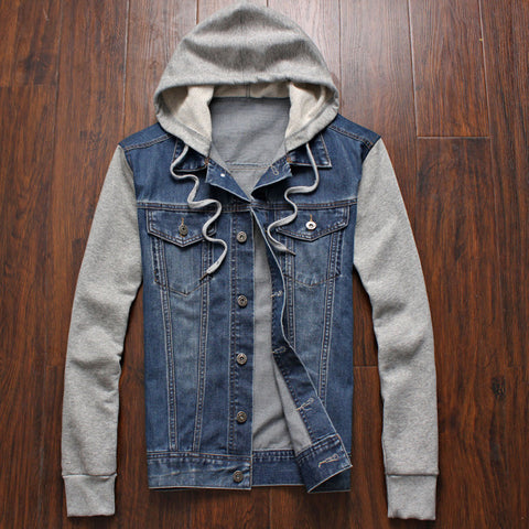 Denim Jacket men hooded sportswear Outdoors Casual fashion Jeans Jackets Hoodies Cowboy Mens Jacket and Coat Plus Size 4XL 5XL - CelebritystyleFashion.com.au online clothing shop australia