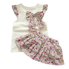 Baby Kids Girls Flowers Bow-Knot Tops+Ruffle Culottes 2PCS Set Outfits Clothes 0-3Y - CelebritystyleFashion.com.au online clothing shop australia