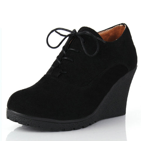 Wedges Women Boots Fashion Flock High-heeled Platform Ankle Boots Lace Up High Heels Spring Autumn Shoes For Women - CelebritystyleFashion.com.au online clothing shop australia