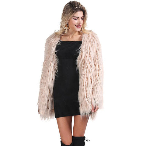 Elegant Faux Fur Coat Fluffy Chic Winter Coat Jacket - CELEBRITYSTYLEFASHION.COM.AU - 1