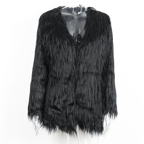 Elegant Faux Fur Coat Fluffy Chic Winter Coat Jacket - CELEBRITYSTYLEFASHION.COM.AU - 2