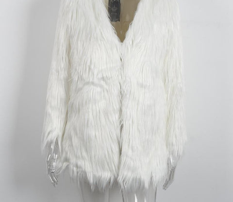 Elegant Faux Fur Coat Fluffy Chic Winter Coat Jacket - CELEBRITYSTYLEFASHION.COM.AU - 3