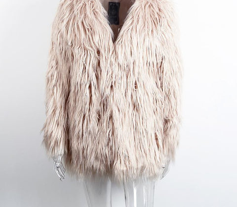 Elegant Faux Fur Coat Fluffy Chic Winter Coat Jacket - CELEBRITYSTYLEFASHION.COM.AU - 4