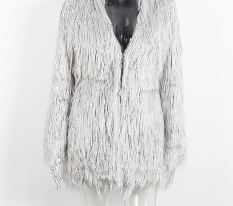 Elegant Faux Fur Coat Fluffy Chic Winter Coat Jacket - CELEBRITYSTYLEFASHION.COM.AU - 5