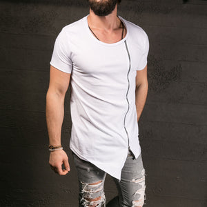 Men's Fashion Show Stylish Long T shirt Asymmetrical Side Zipper Big Neck Short Sleeve T-Shirt Tees - CelebritystyleFashion.com.au online clothing shop australia
