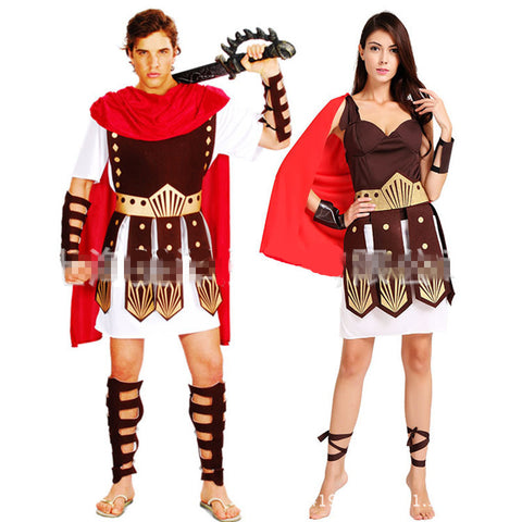 Ancient Roman Warrior Gladiator Costumes Masquerade Party Women Men Knight Julius Caesar Halloween Adult Cosplay Couple Costume - CelebritystyleFashion.com.au online clothing shop australia
