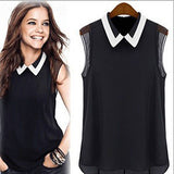 Women Summer Loose Casual Chiffon Sleeveless Vest Shirt Tops Blouse Black White - CelebritystyleFashion.com.au online clothing shop australia
