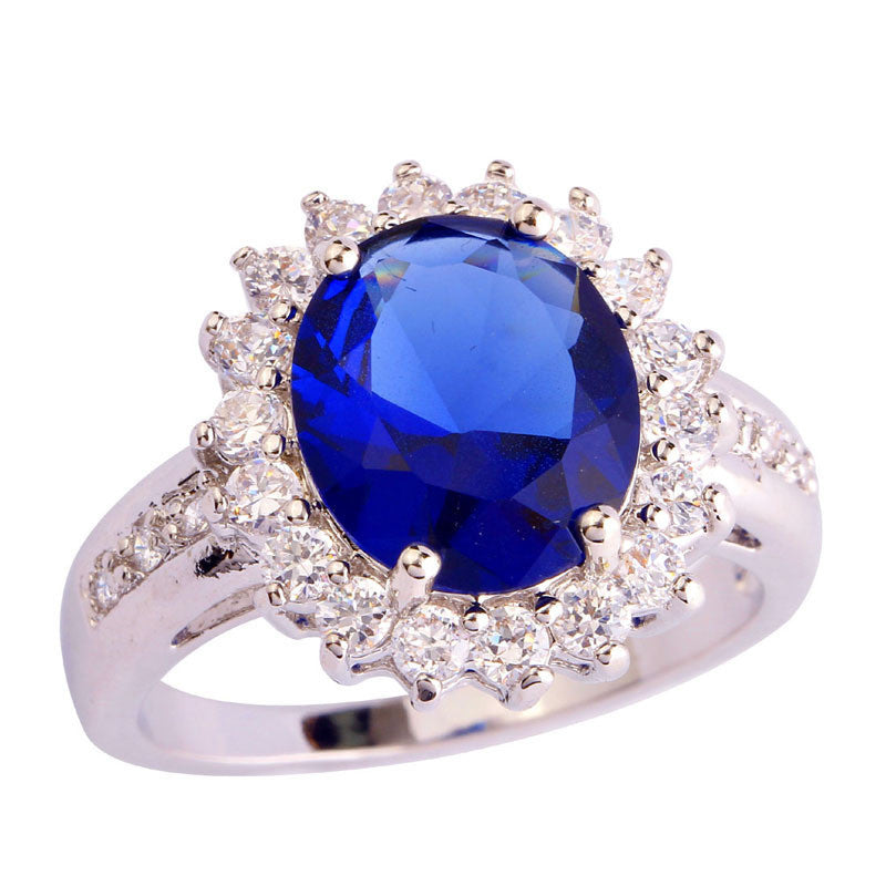 10Jewelry Blue Sapphire Quartz 18K White Gold Plated Silver Ring