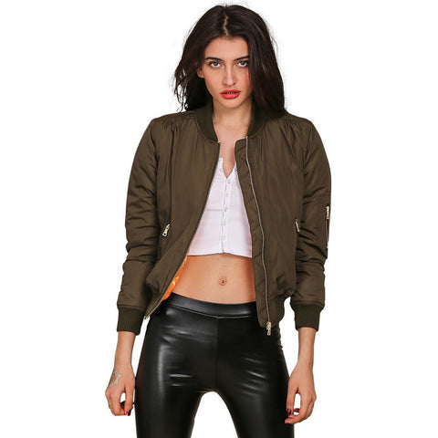 Parkas Basic Bomber Jacket Army Green Padded Kylie Jenner Style - CELEBRITYSTYLEFASHION.COM.AU - 1