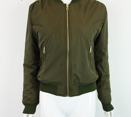 Parkas Basic Bomber Jacket Army Green Padded Kylie Jenner Style - CELEBRITYSTYLEFASHION.COM.AU - 6