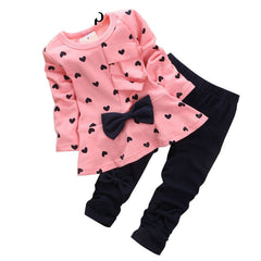 New Baby Girl Set Heart-shaped Print Bow Cute 2PCS Kid Set T shirt + Pants Cute Princess Kids Clothing Set Newborn Clothing - CelebritystyleFashion.com.au online clothing shop australia