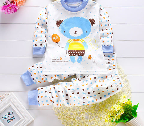 2pcs/set Newborn Baby Clothing Sets for 7-24M Brand kids Clothes 100% Cotton long sleeve base shirt Undershirts pyjamas bears - CelebritystyleFashion.com.au online clothing shop australia