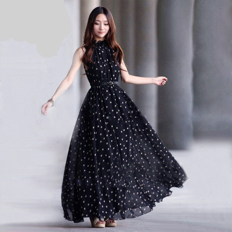 Fashion Women's polka dots Maxi dress long Casual Summer Beach Chiffon Party Dresses style - CelebritystyleFashion.com.au online clothing shop australia