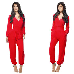 Elegant Rompers Women Jumpsuit Deep V-neck Bodysuit With Pockets Plus Size Overalls For Women Elegant Long Sleeve Jumpsuits - CelebritystyleFashion.com.au online clothing shop australia