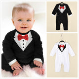 Newborn Baby Rompers Cotton Gentleman Infant Boys Clothes Tie Bow Toddler Kids One-Pieces Jumpsuits for 0-18M - CelebritystyleFashion.com.au online clothing shop australia