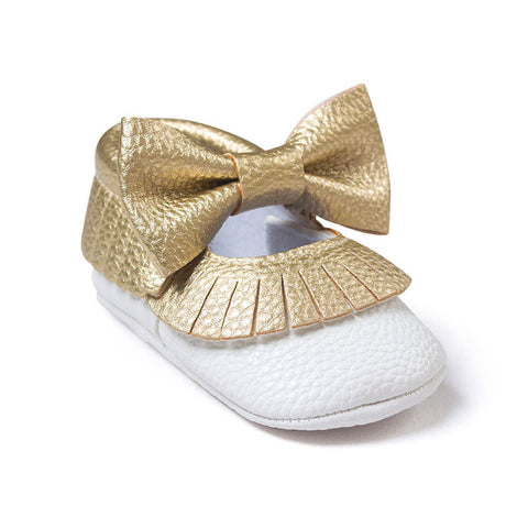Baby Girls Mary Jane Flower Baby Shoes PU Leather Baby Moccasins Gold Bow Girls First Walker Toddler Moccs - CelebritystyleFashion.com.au online clothing shop australia
