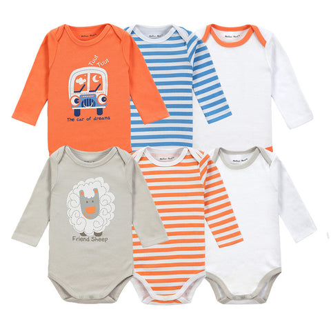 6 Pieces Brand Baby Girl Clothes Boy Long Sleeve Bodysuits New Born Clothing With Character Printed Infant Jumpsuit Overall - CelebritystyleFashion.com.au online clothing shop australia
