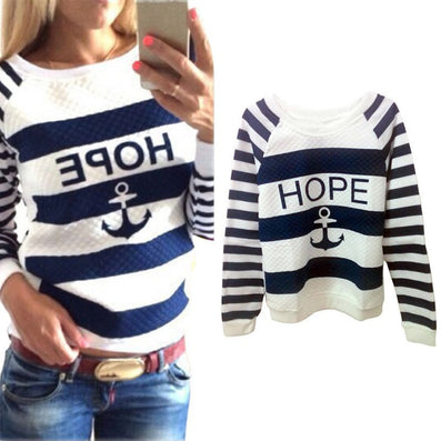 Women Hoodies Anchors Striped Causal Tracksuit Blue White Patchwork Sweatshirts Ladies Pullover - CelebritystyleFashion.com.au online clothing shop australia