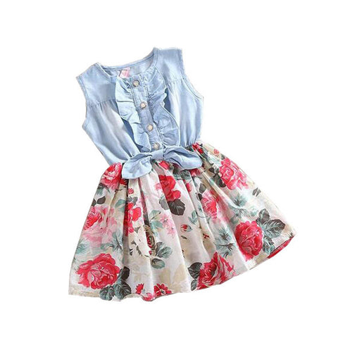 Belababy Baby Girl Dress Summer Children Sleeveless Christmas Girls Denim Floral Dresses Kids Princess Bowknot Flower Dress - CelebritystyleFashion.com.au online clothing shop australia