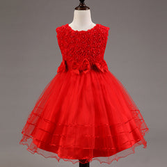 Summer style kids dress for girls flower lace princess party costume girl floral dress pearl kids clothes vestido meninas - CelebritystyleFashion.com.au online clothing shop australia