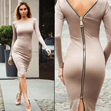 Autumn Maxi Simple Round Collar Knee-Length Sexy Elegant Dress Long Sleeve Full Zipper Tight Design Fitted Dresses Women Vestido - CelebritystyleFashion.com.au online clothing shop australia