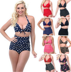 Push up High Waist Swimsuit Women Bathing Suit Padded Bikini set Retro Beachwear Plus Size Swimwear - CelebritystyleFashion.com.au online clothing shop australia