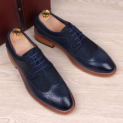 England fashion men genuine leather brogue shoes pointed toe carved bullock flats shoe casual vintage breathable comfortable man - CelebritystyleFashion.com.au online clothing shop australia