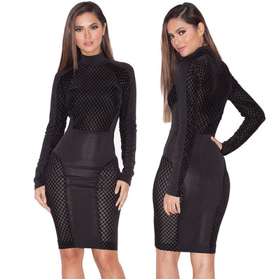 Patchwork Mesh Sheer Party Stretch Dress Kylie Jenner Kardashian Style -  - 1