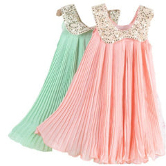 Summer Girls Pleated Chiffon One-Piece Dress With Paillette Collar Children Colthes For Kids Baby, Pink/Green Free Shipping - CelebritystyleFashion.com.au online clothing shop australia