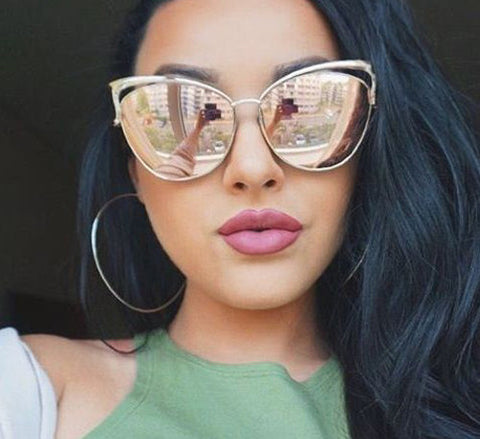 High Quality Cat Eye Female Sunglasses Gold Metal Gafas de sol Reflective Summer Pink Glasses Vintage Sexy Occhiali da sole - CelebritystyleFashion.com.au online clothing shop australia