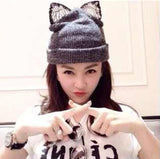 Winter Beanie Devil Cat Ear Lace Diamond Hat Crochet Braided Gorro Elastic Knitted Warm Ski Cap Beret Women Beanies 1MZ0500 - CelebritystyleFashion.com.au online clothing shop australia