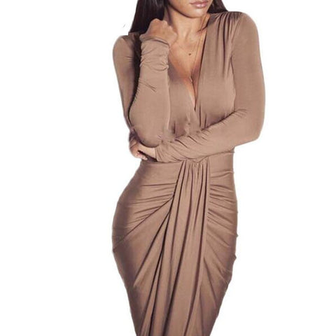 Deep V Neck Bodycon Sexy Womens Party Club Dresses Long Sleeve Autumn Winter Draped Elegant Women Dress Maxi Long Dress Vestidos - CelebritystyleFashion.com.au online clothing shop australia