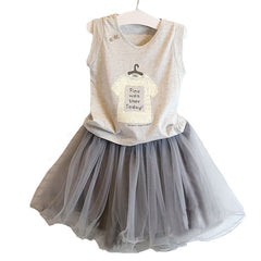 Baby girl clothing sets summer shirt +lace skirt children kids clothes grey color t shirt with grey skirt girl clothes dress - CelebritystyleFashion.com.au online clothing shop australia