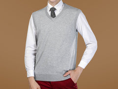 New Autumn Winter Warm Cashmere Sweater Vest Men Classic Sleeveless Coat Wool Solid Color V-Neck Pullover Men Jersey Casual - CelebritystyleFashion.com.au online clothing shop australia