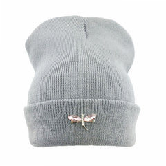 Dragonfly Crystal Accessory Beanie Hat For Women, Hip Hop Cute Hats Winter Caps Female Beanies bonnet - CelebritystyleFashion.com.au online clothing shop australia