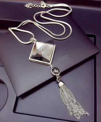 Top quality square crystal pendant long tassel necklace women fashion jewelry Silver Chain - CelebritystyleFashion.com.au online clothing shop australia