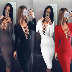 Tie Up Deep V Neck Criss Long Sleeve Bandage Dress Hot Colors -  - 1