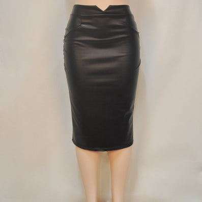 Faux Leather Stretch Maxi High Waisted Pencil Skirt -  - 2