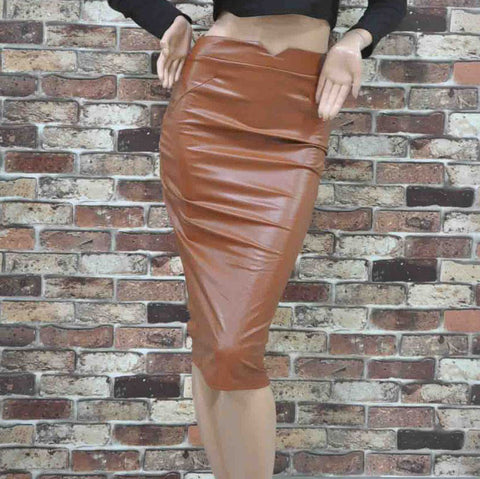Faux Leather Stretch Maxi High Waisted Pencil Skirt -  - 5