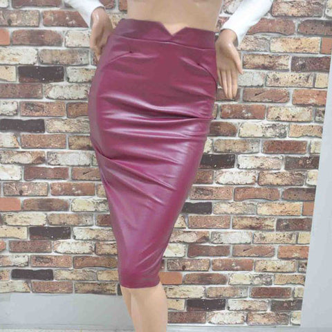Faux Leather Stretch Maxi High Waisted Pencil Skirt -  - 4