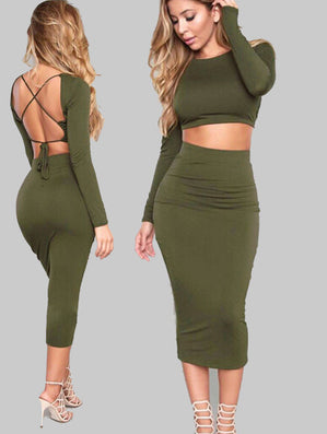 2 Piece Set Dress Strap Party Maxi Dress -