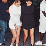 Kylie Jenner Style Dress Side Slit Mini Dress -  - 1