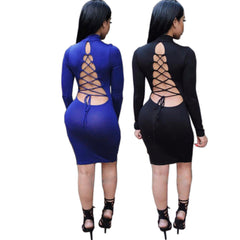 Tie Up Backless Criss Long Sleeve Bandage Dress -  - 1