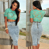 Floral Lace Sheer Crop Top -  - 6