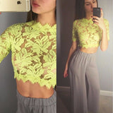 Floral Lace Sheer Crop Top -  - 5
