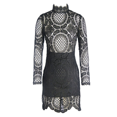 High Collar Boho Lace Party Dress Kim Kardashian Style -  - 2