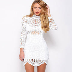 High Collar Boho Lace Party Dress Kim Kardashian Style -  - 3