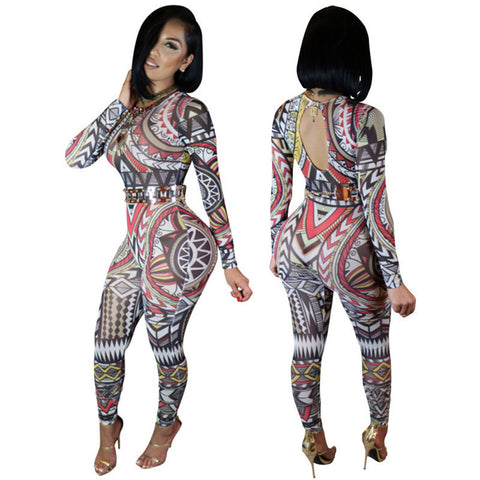 Chic Long Sleeve Tight Print Jumpsuit Backless Bodysuit -  - 1